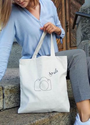 Эко-сумка / шоппер с вышивкой ручной работы👜 фотоаппарат