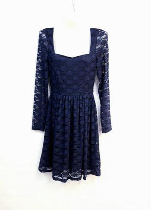 Синие ажурное платье only размер s