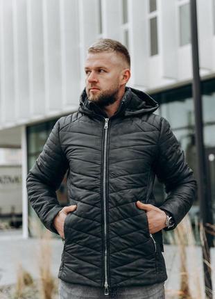Мужская зимняя куртка черная с карманами🆕 теплая куртка до -15...