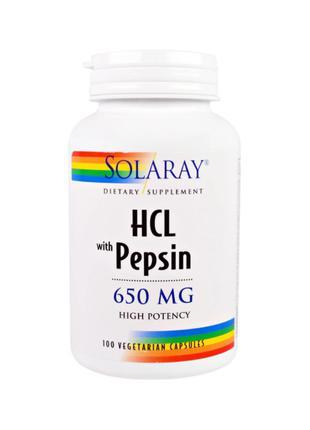 Бетаин Гидрохлорид с пепсином, 650 мг, Solaray, 100 капсул