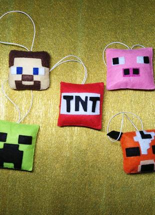 Ёлочные игрушки из фетра Minecraft