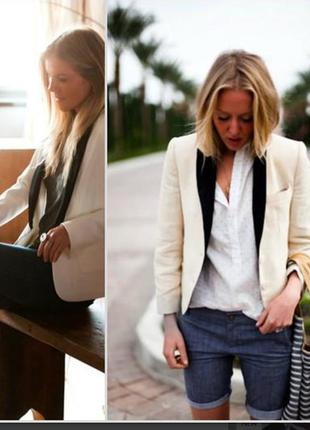 Брендовый пиджак жакет блейзер с кожаными вставками и карманам...