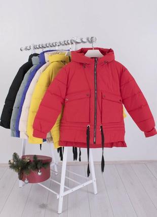 Женская красная зимняя куртка