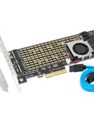 Адаптер на 2-а SSD M.2 NGFF NVMe и SATA на PCI-e x4 с охлаждением