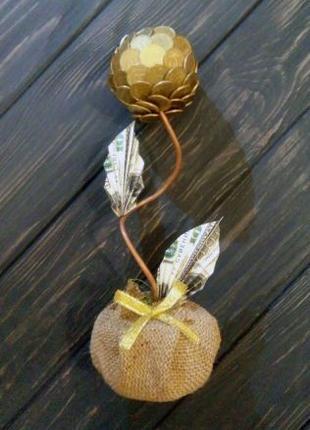 Дерево счастья топиарий из монет подарок сувенир