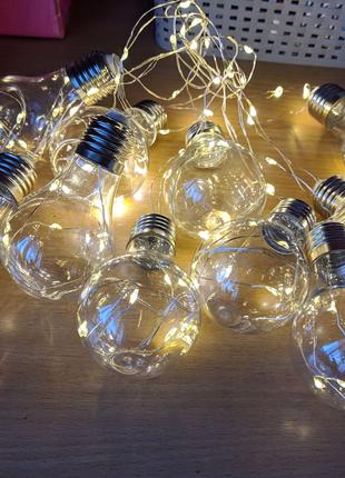 Гирлянда лофт лампочки новогодние жёлтый свет фонарики loft