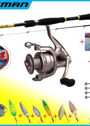 Набор для ловли хищной рыбы 18в1 Спиннинг + Катушка Флагман + ...