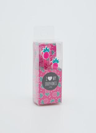 Розовые наушники ананасы sinsay