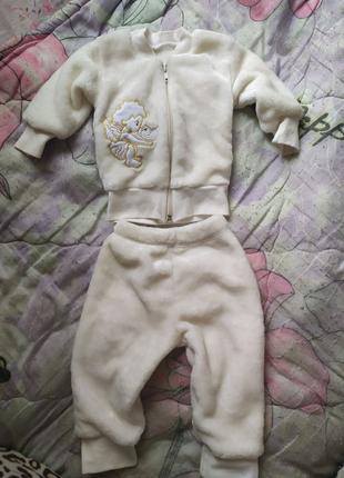 Теплый плюшевый костюм для новорожденного