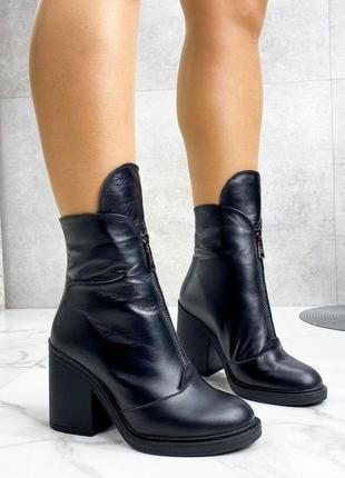 Женские кожаные зимние ботильоны на каблуке,чёрные зимние боти...