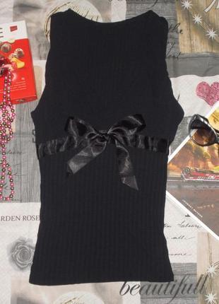 Черная майка/маечка с запахом и атласным бантом s-l/42-46