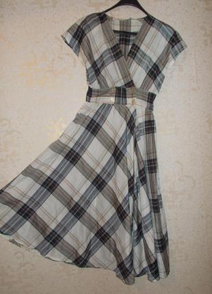 Винтажное ретро платье в клетку размер 44-46