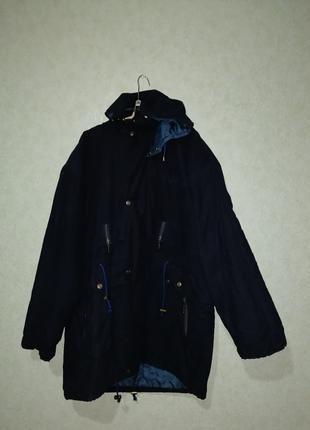 Куртка мужская на пуху тёмносинего цвета большого размера