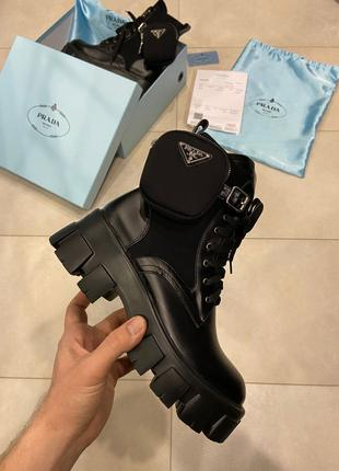 Ботинки Prada Leather Boots Nylon Pouch