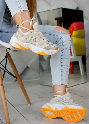 Классные женские кроссовки найк nike m2k tekno beige orange. д...