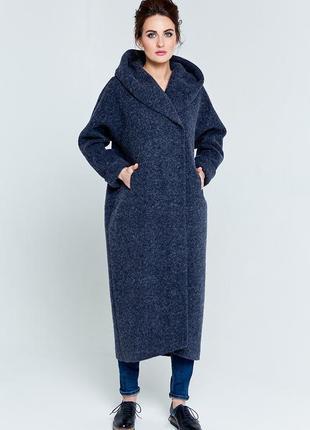 Пальто теплое шерсть кокон оверсайз длинное миди oversize
