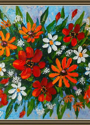 Картина маслом живопись интерьерная фактурная цветы букет ромашки