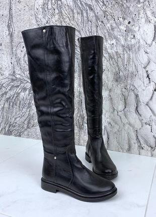 Зимние кожаные ботфорты, женские кожаные зимние сапоги ботфорты