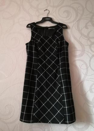 Мягкое платье в клетку, деловой стиль, осеннее платье в офис