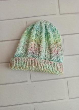 Шапка вязаная для новорожденного, шапка меланжевая разноцветна...