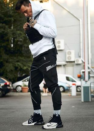 Брюки карго мужские Пушка Огонь Xeed черные с рефлективом