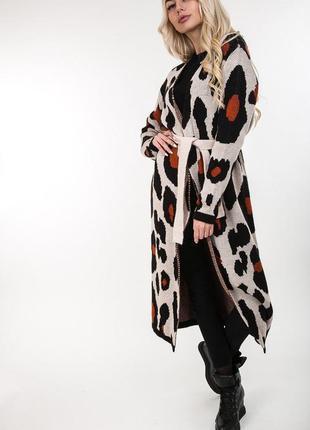Длинный, теплый кардиган с поясом, вязаное пальто