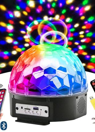 Дискошар LED с Блютузом, 9 Цветов, вращается под музыку