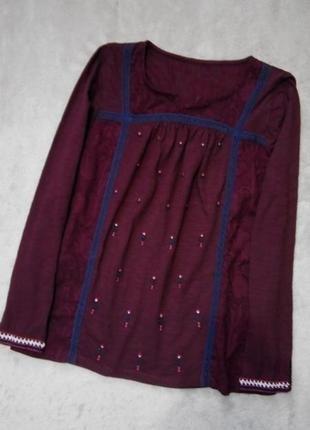 Блузка с кружевом и вышивкой размер 10-12 tu