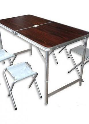 Складной стол для пикника со стульями (Коричневый)