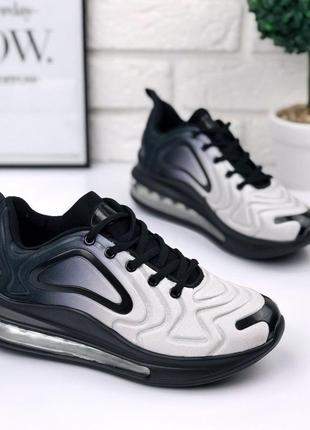 Стильные спортивные черно-белые кроссовки под бренд
