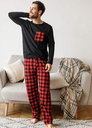 Мужская пижама кофта брюки красная клетка теплая байка хлопок