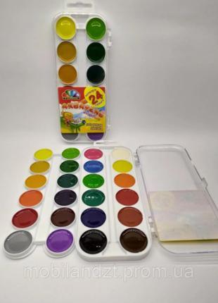 Краски акварельные Гамма 24 цветов пластиковая коробка, без кисти
