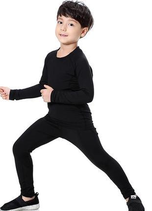 Термобелье на флисе детское черное