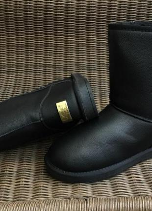 Угги черные мужские ботинки дутики эко кожаные эко кожа зимние...
