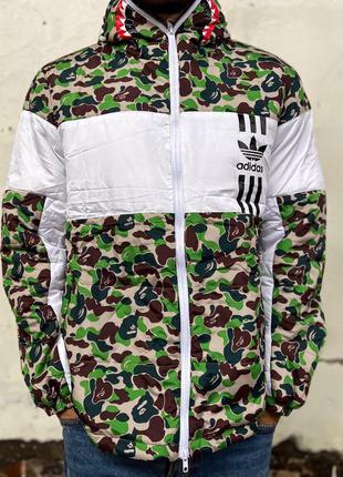 Мужская зимняя куртка bape x adidas