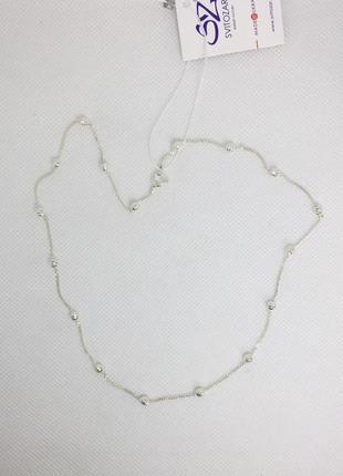 Новая серебряная цепочка шарики 50 55 см серебро 925 пробы