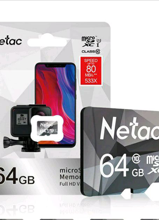 Netac Оригинальная карта памяти Micro SD, класс 10, 64 ГБ.