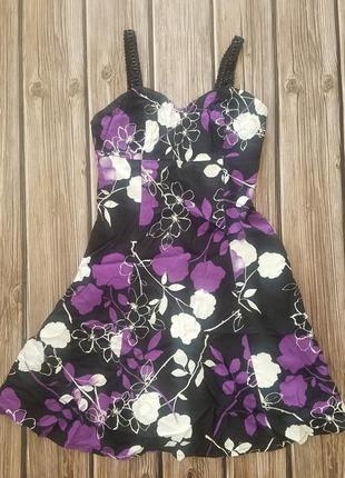 Фиолетовый сарафан, платье черное летнее, сарафан на бретелька...