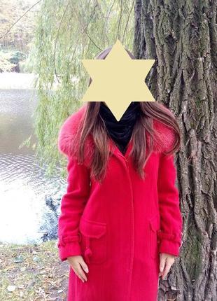 Красное пальто осеннее, длинное пальто за колено, женское пальто