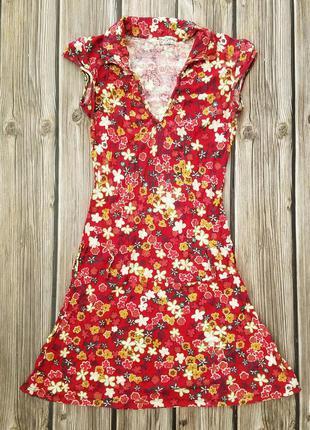 Платье летнее мини, красное цветочное платье, приталенное плат...
