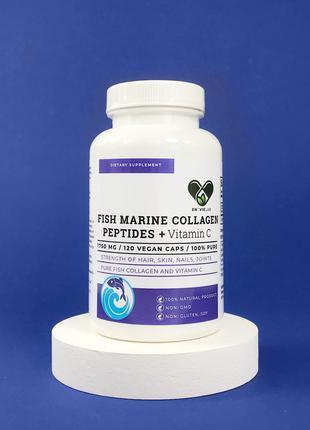 Коллаген рыбный + Витамин С Collagen Peptides (120 капсул) 1750mg