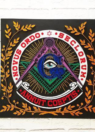 Стринг арт масонские знаки, всевидящее око, циркуль и наугольник