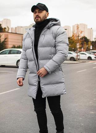 Мужская зимняя куртка серого цвета