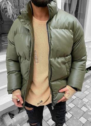 Мужская зимняя куртка цвета хаки