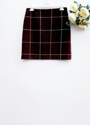 Шерстяная юбка трапеция юбка теплая юбка в клетку