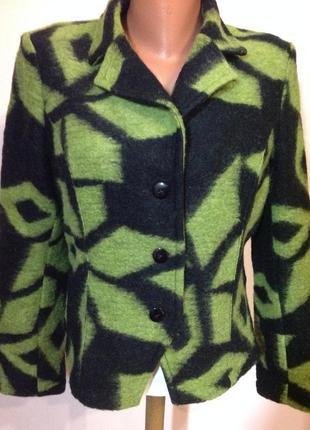 Жакет / пиджак валяная шерсть /шерстяной в геометрический прин...
