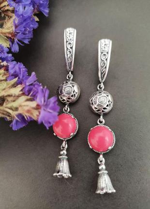 Серебряные серьги с кораллом, 925, серебро  сережки