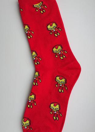 Топ! мужские носки с супергероем марвел(marvel) железный человек!