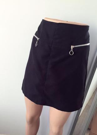 Мини юбка замшевая