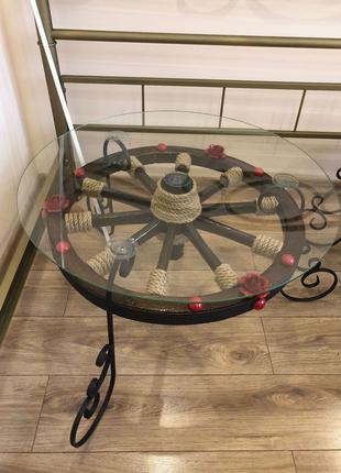 Стіл ручної роботи,колесо воза та ковка,стол Hand Made